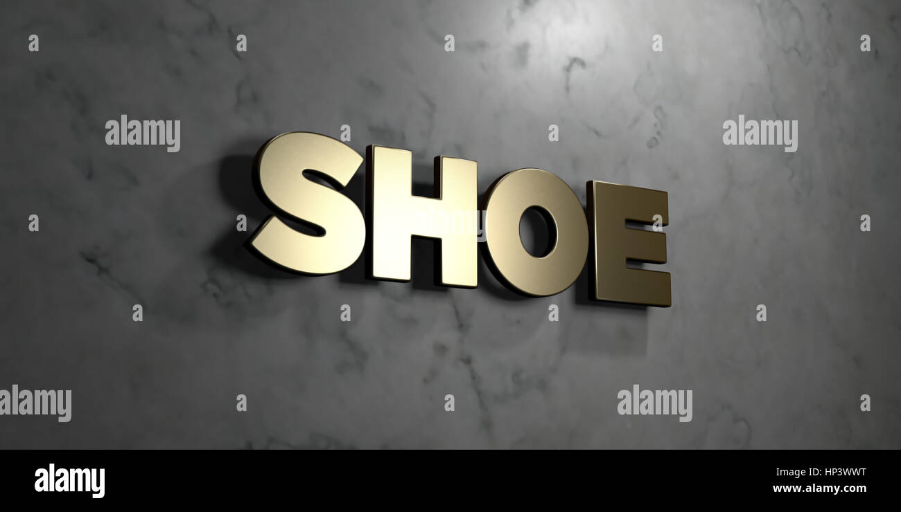 Shoe - Gold sign mounted on glossy marble wall - 3D rendered royalty