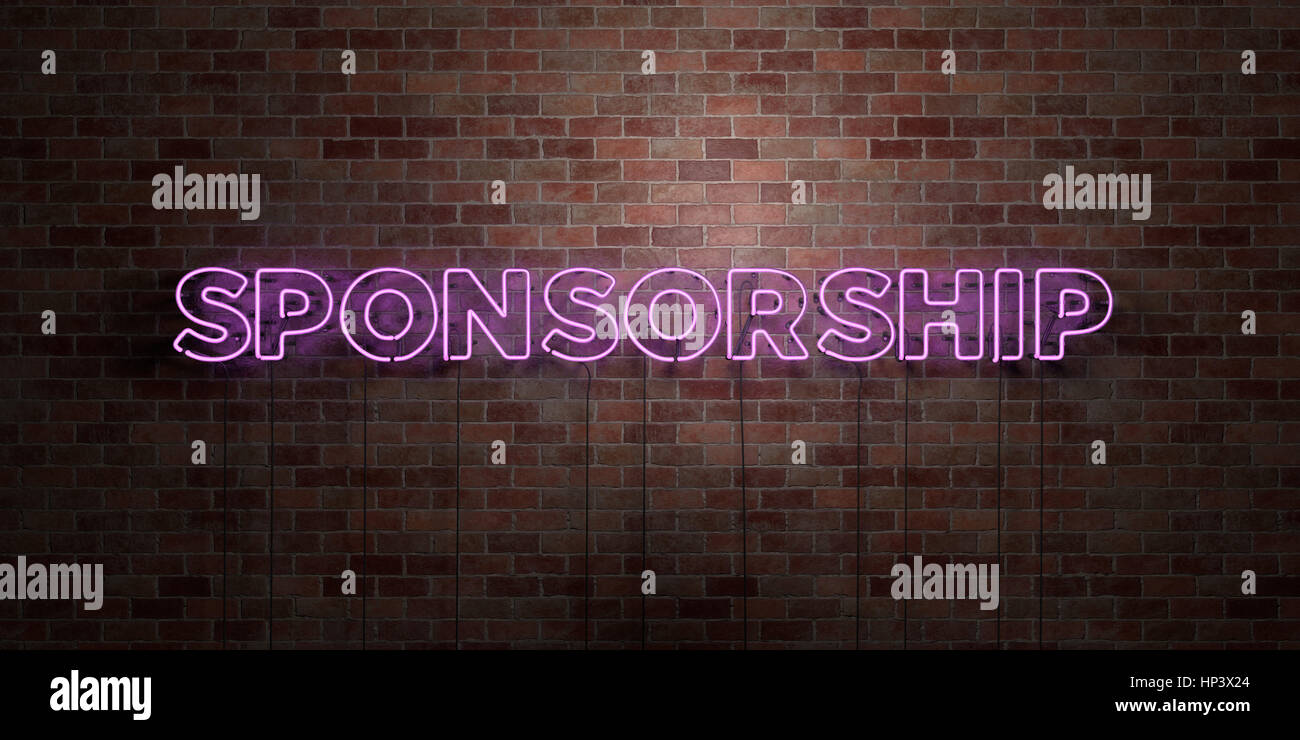 SPONSORSHIP - fluorescent Neon tube Sign on brickwork - Front view - 3D rendered royalty free stock picture. Can - Stock Image