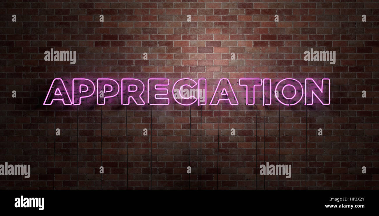 APPRECIATION - fluorescent Neon tube Sign on brickwork - Front view - 3D rendered royalty free stock picture. Can - Stock Image