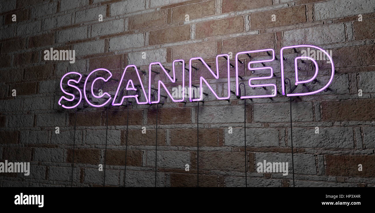 SCANNED - Glowing Neon Sign on stonework wall - 3D rendered royalty free stock illustration.  Can be used for online - Stock Image