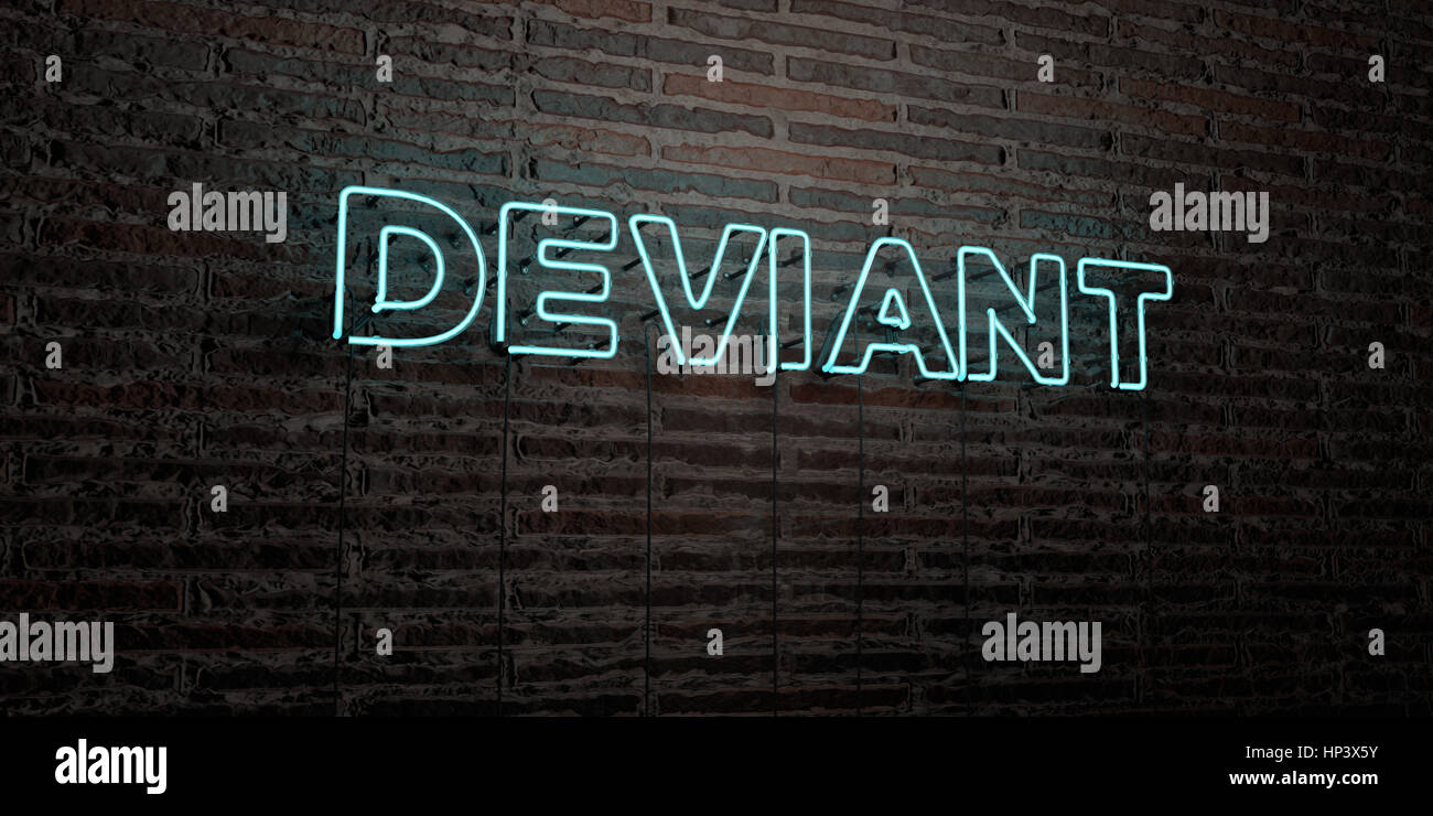 DEVIANT -Realistic Neon Sign on Brick Wall background - 3D rendered royalty free stock image. Can be used for online - Stock Image