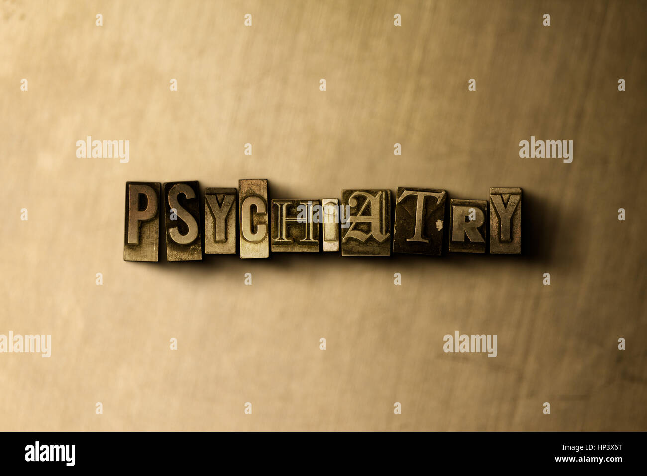 PSYCHIATRY - close-up of grungy vintage typeset word on metal backdrop. Royalty free stock illustration.  Can be - Stock Image