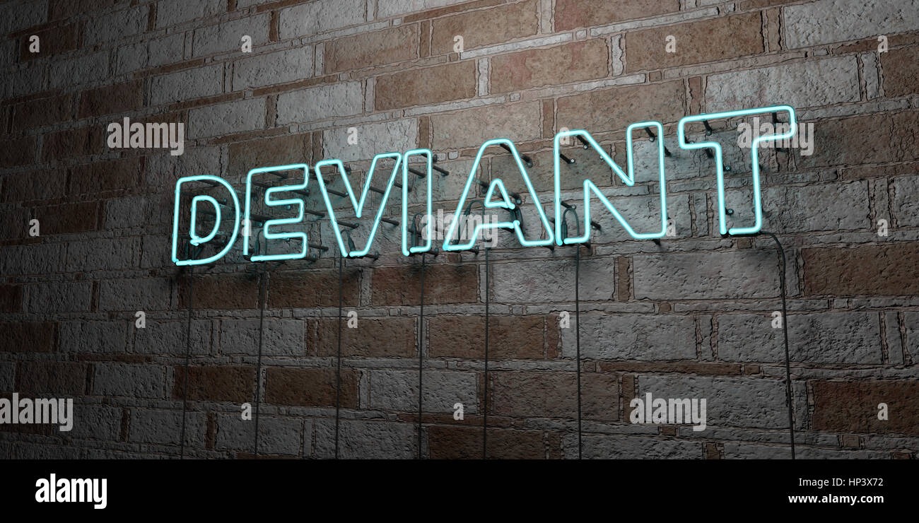 DEVIANT - Glowing Neon Sign on stonework wall - 3D rendered royalty free stock illustration.  Can be used for online - Stock Image