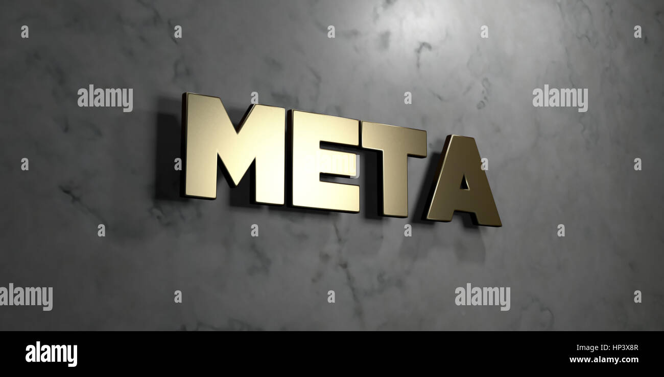 Meta - Gold sign mounted on glossy marble wall  - 3D rendered royalty free stock illustration. This image can be - Stock Image
