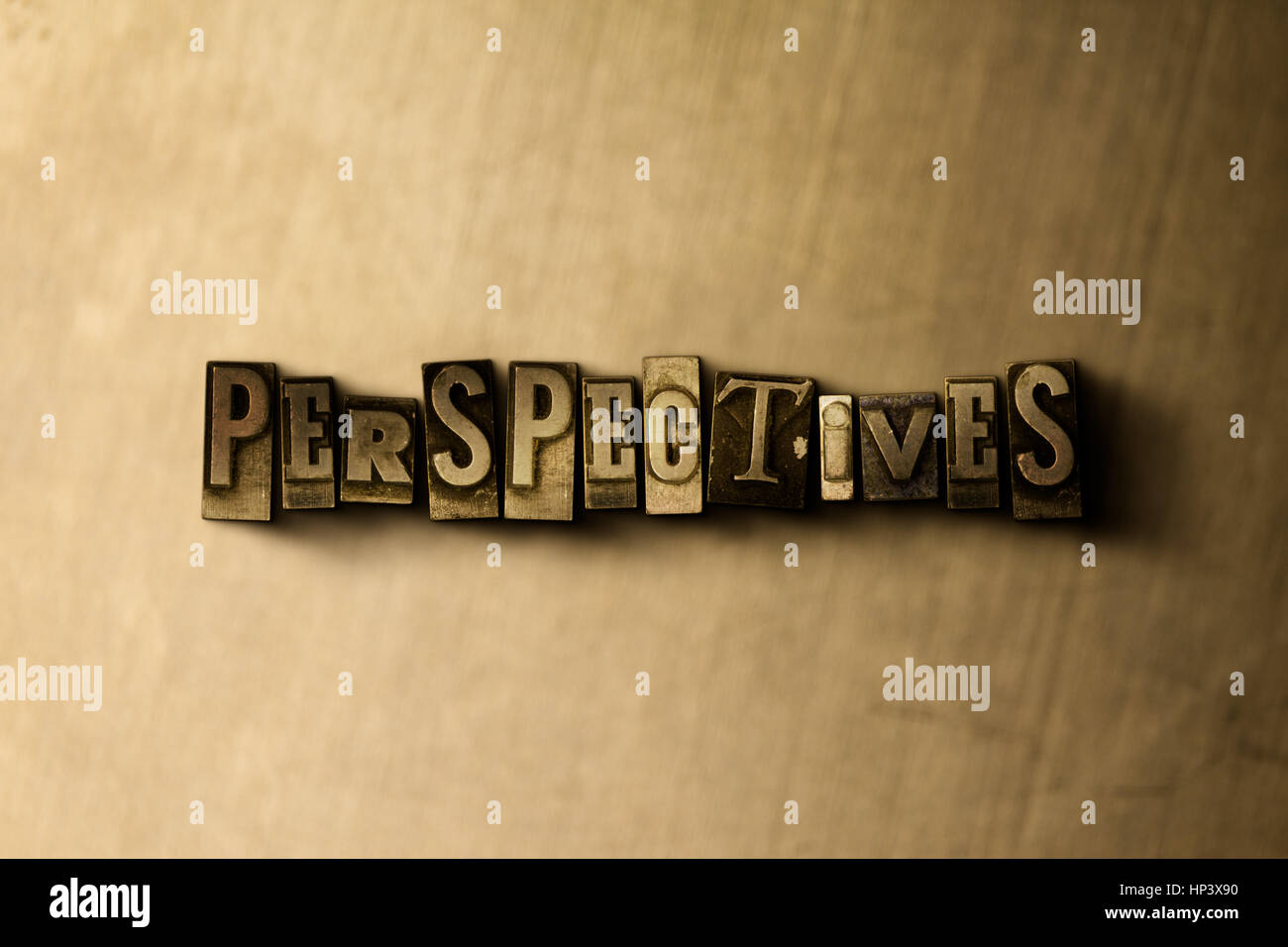 PERSPECTIVES - close-up of grungy vintage typeset word on metal backdrop. Royalty free stock illustration.  Can - Stock Image