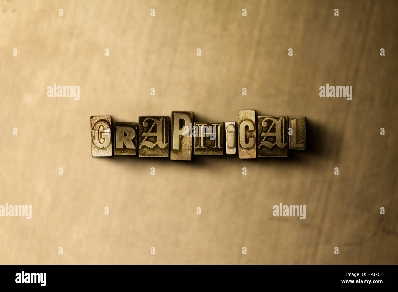 GRAPHICAL - close-up of grungy vintage typeset word on metal backdrop. Royalty free stock illustration.  Can be - Stock Image