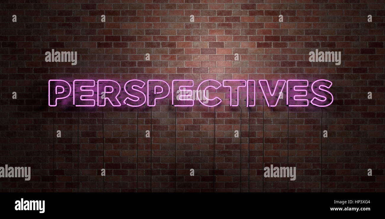 PERSPECTIVES - fluorescent Neon tube Sign on brickwork - Front view - 3D rendered royalty free stock picture. Can - Stock Image