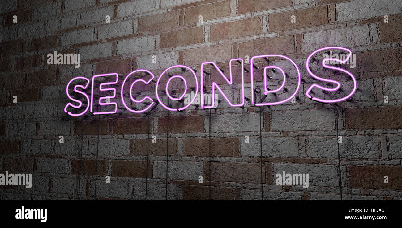 SECONDS - Glowing Neon Sign on stonework wall - 3D rendered royalty free stock illustration.  Can be used for online - Stock Image