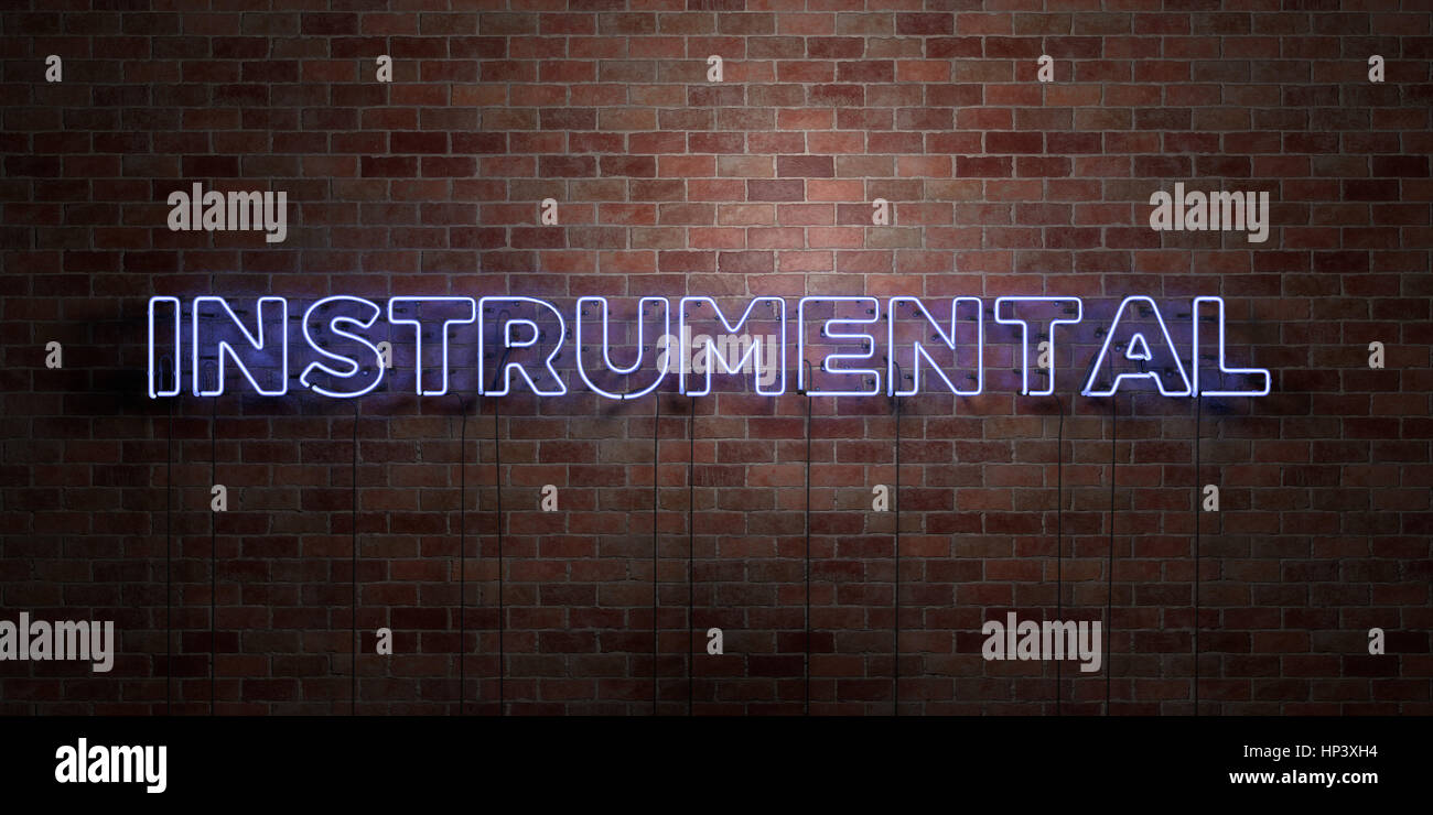INSTRUMENTAL - fluorescent Neon tube Sign on brickwork - Front view - 3D rendered royalty free stock picture. Can - Stock Image