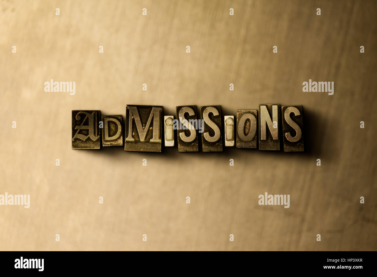 ADMISSIONS - close-up of grungy vintage typeset word on metal backdrop. Royalty free stock illustration.  Can be - Stock Image
