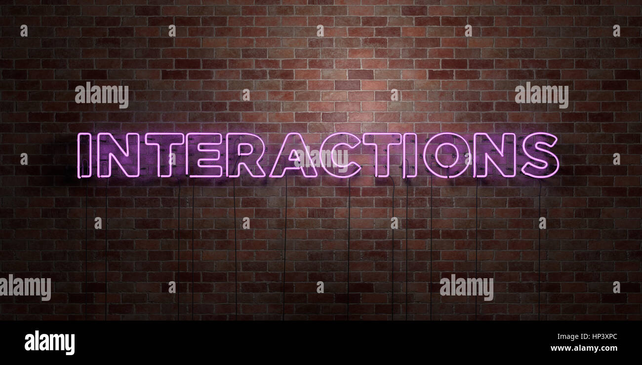 INTERACTIONS - fluorescent Neon tube Sign on brickwork - Front view - 3D rendered royalty free stock picture. Can - Stock Image
