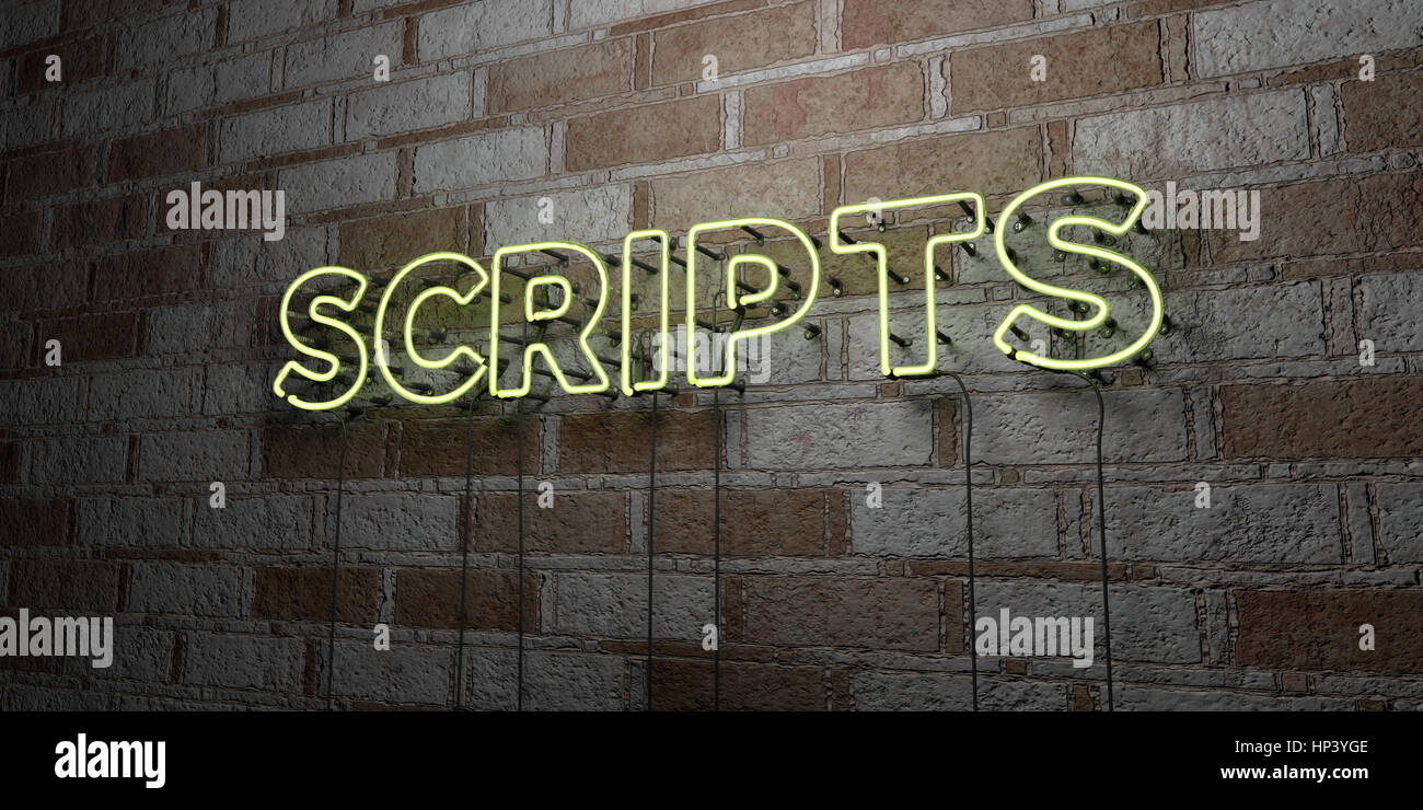 SCRIPTS - Glowing Neon Sign on stonework wall - 3D rendered royalty free stock illustration.  Can be used for online - Stock Image