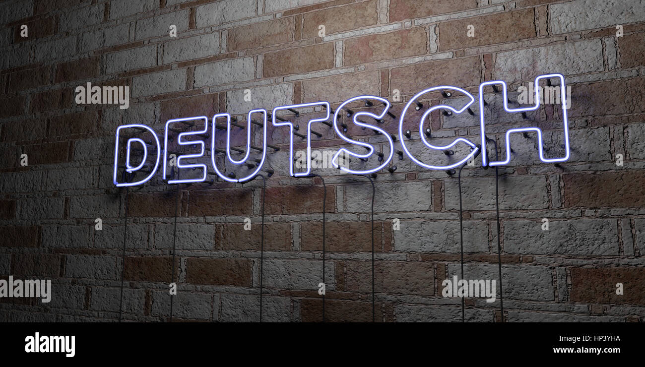 DEUTSCH - Glowing Neon Sign on stonework wall - 3D rendered royalty free stock illustration.  Can be used for online - Stock Image