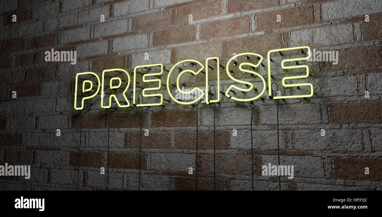 PRECISE - Glowing Neon Sign on stonework wall - 3D rendered royalty free stock illustration.  Can be used for online - Stock Image