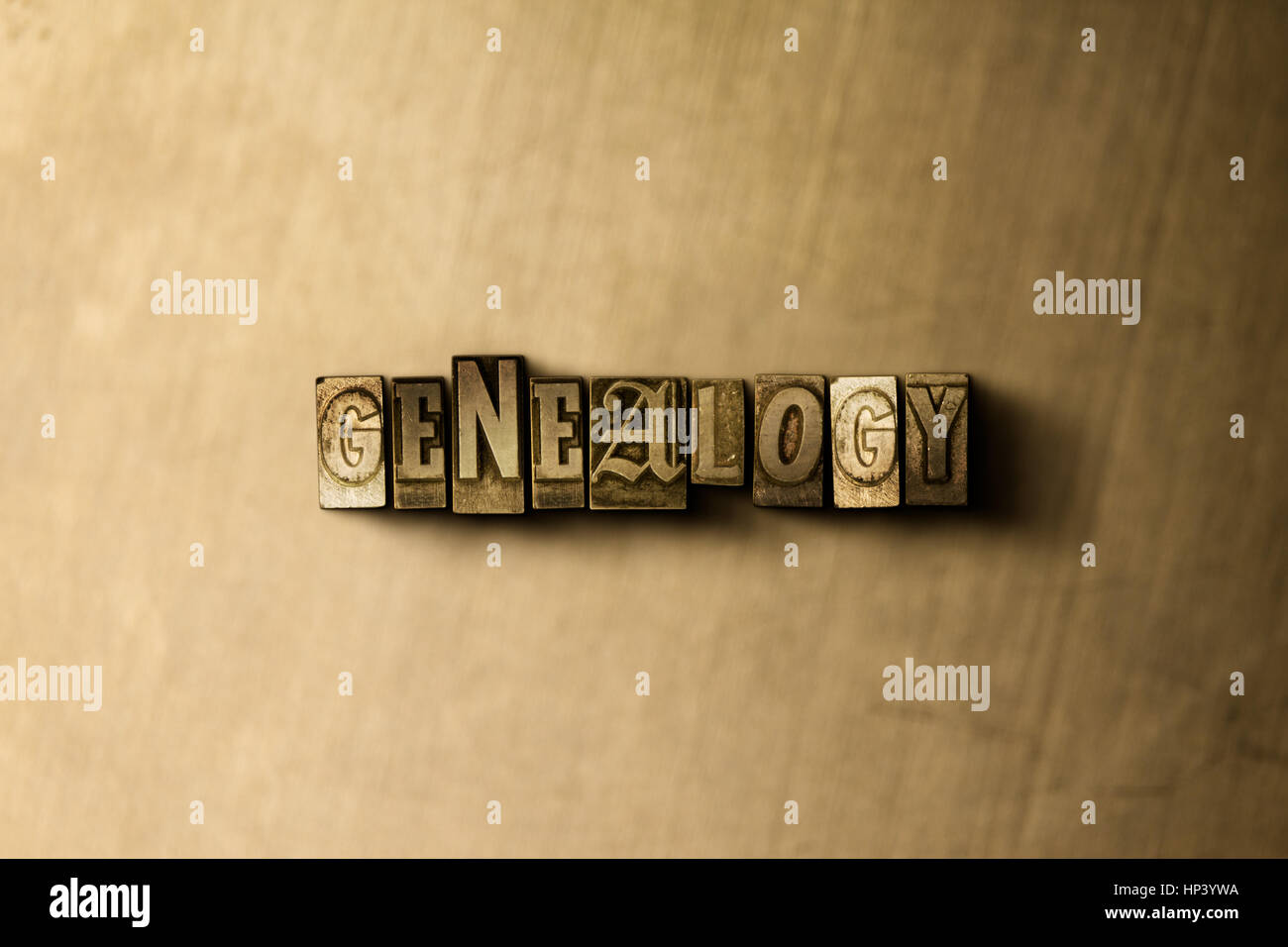 GENEALOGY - close-up of grungy vintage typeset word on metal backdrop. Royalty free stock illustration.  Can be - Stock Image