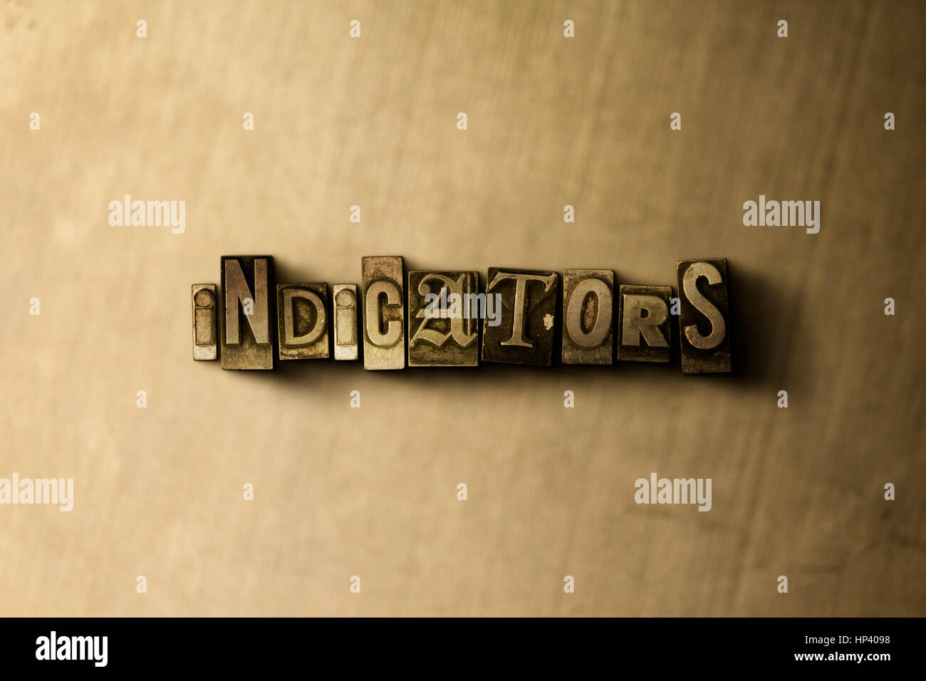 INDICATORS - close-up of grungy vintage typeset word on metal backdrop. Royalty free stock illustration.  Can be - Stock Image