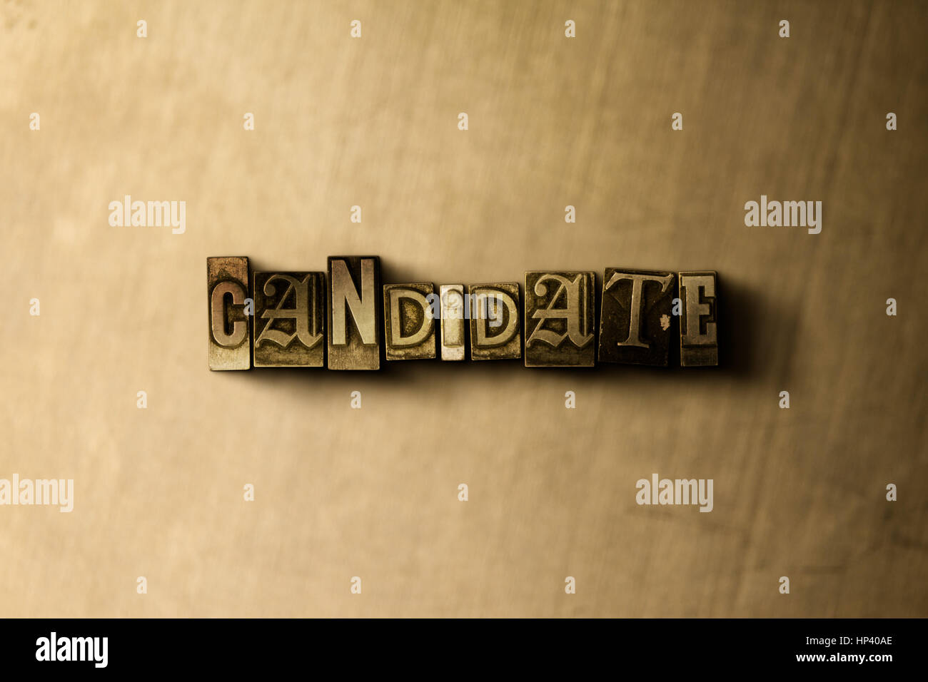CANDIDATE - close-up of grungy vintage typeset word on metal backdrop. Royalty free stock illustration.  Can be - Stock Image