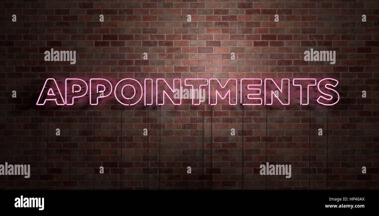 APPOINTMENTS - fluorescent Neon tube Sign on brickwork - Front view - 3D rendered royalty free stock picture. Can - Stock Image