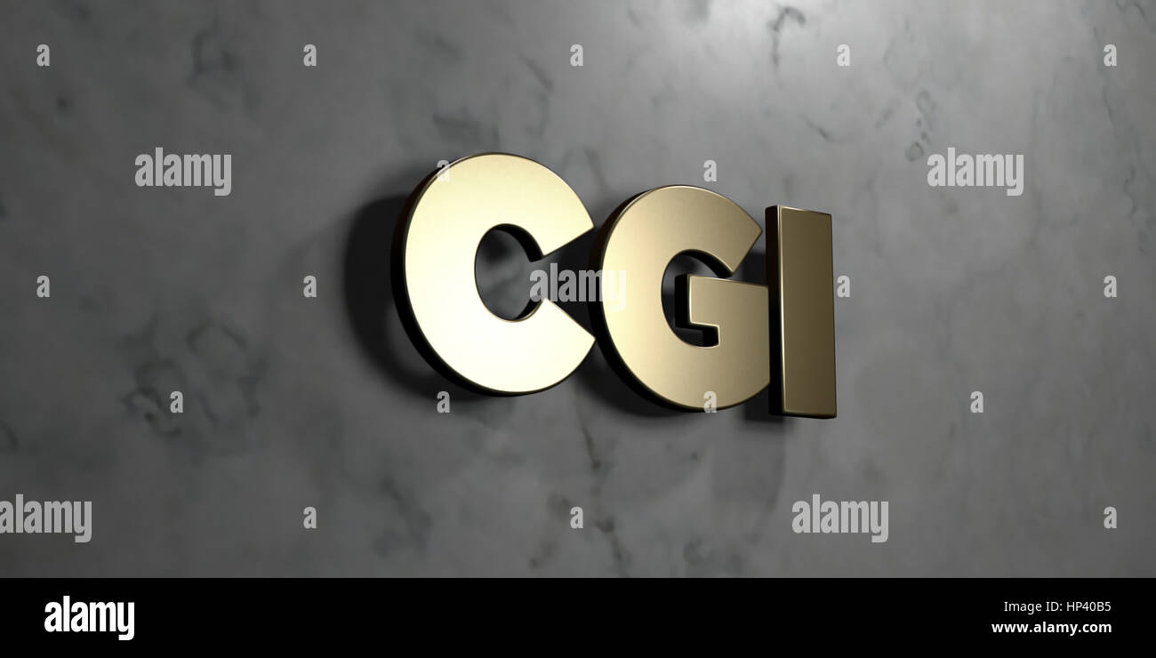 Cgi - Gold sign mounted on glossy marble wall  - 3D rendered royalty free stock illustration. This image can be - Stock Image