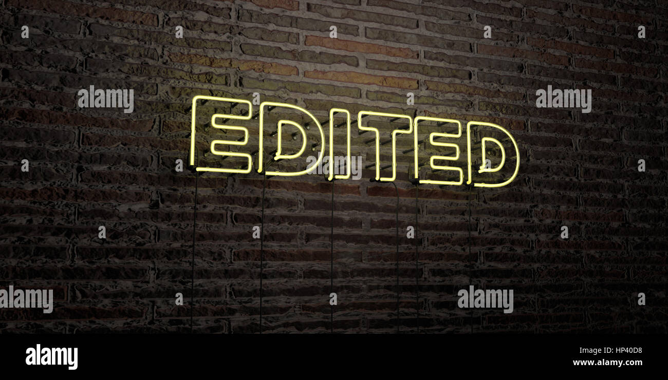 EDITED -Realistic Neon Sign on Brick Wall background - 3D rendered royalty free stock image. Can be used for online - Stock Image