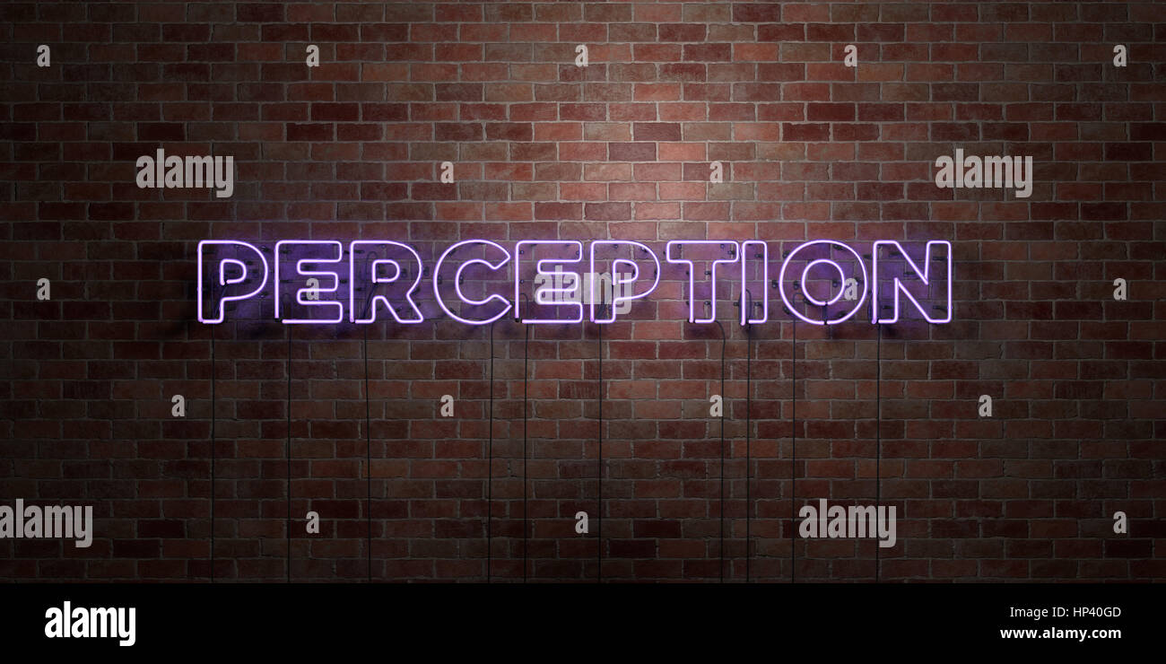 PERCEPTION - fluorescent Neon tube Sign on brickwork - Front view - 3D rendered royalty free stock picture. Can - Stock Image