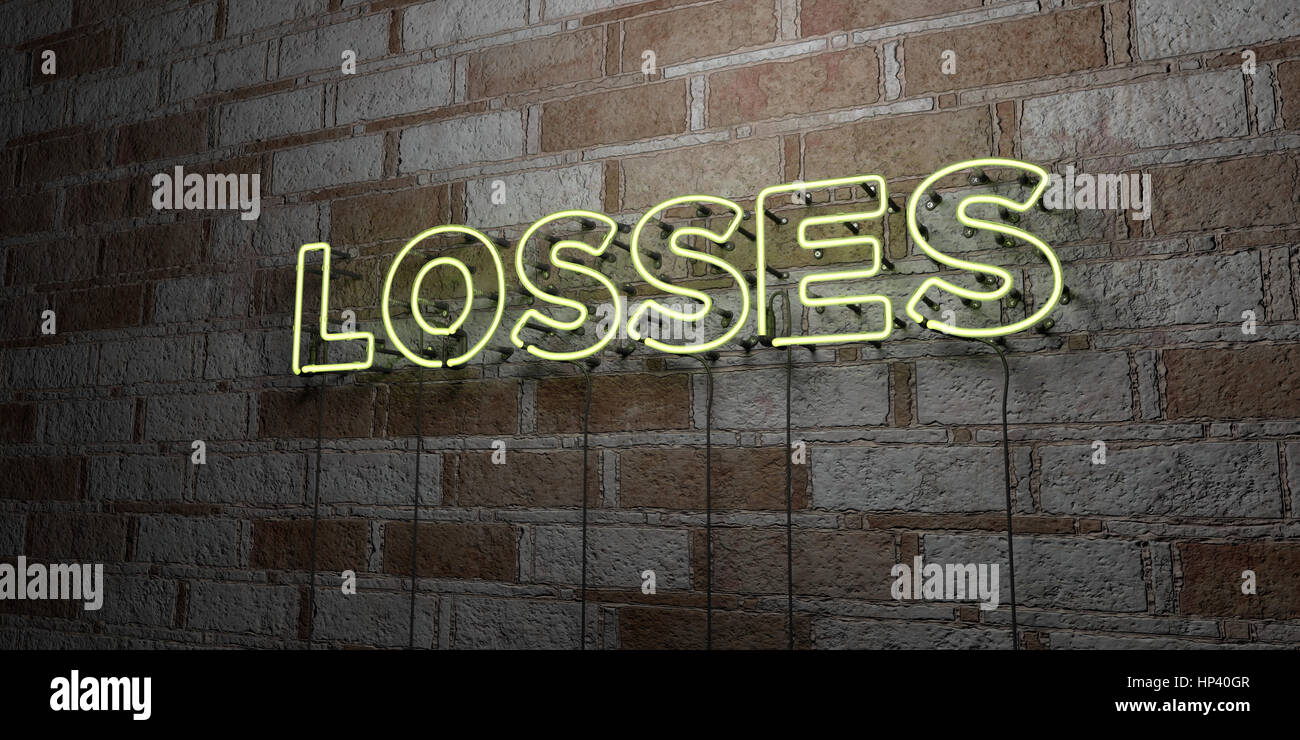 LOSSES - Glowing Neon Sign on stonework wall - 3D rendered royalty free stock illustration.  Can be used for online Stock Photo