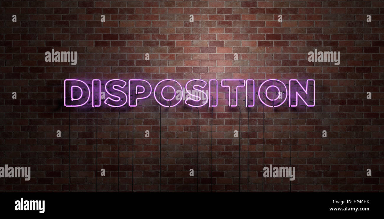 DISPOSITION - fluorescent Neon tube Sign on brickwork - Front view - 3D rendered royalty free stock picture. Can - Stock Image