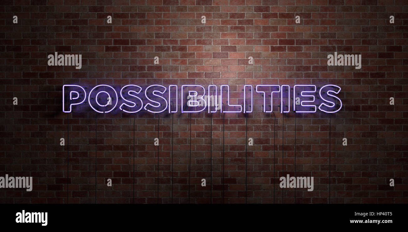 POSSIBILITIES - fluorescent Neon tube Sign on brickwork - Front view - 3D rendered royalty free stock picture. Can - Stock Image