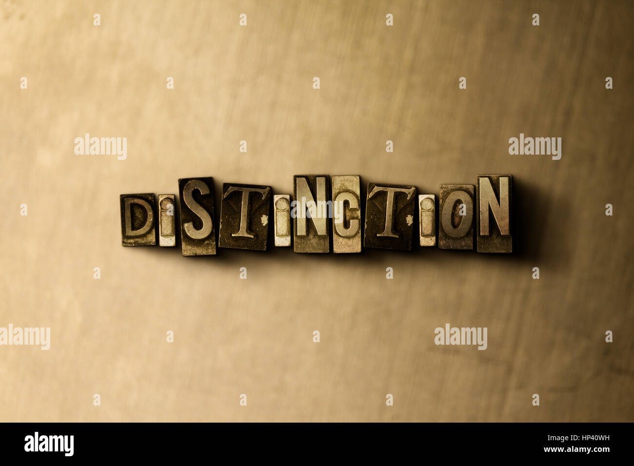 DISTINCTION - close-up of grungy vintage typeset word on metal backdrop. Royalty free stock illustration.  Can be - Stock Image