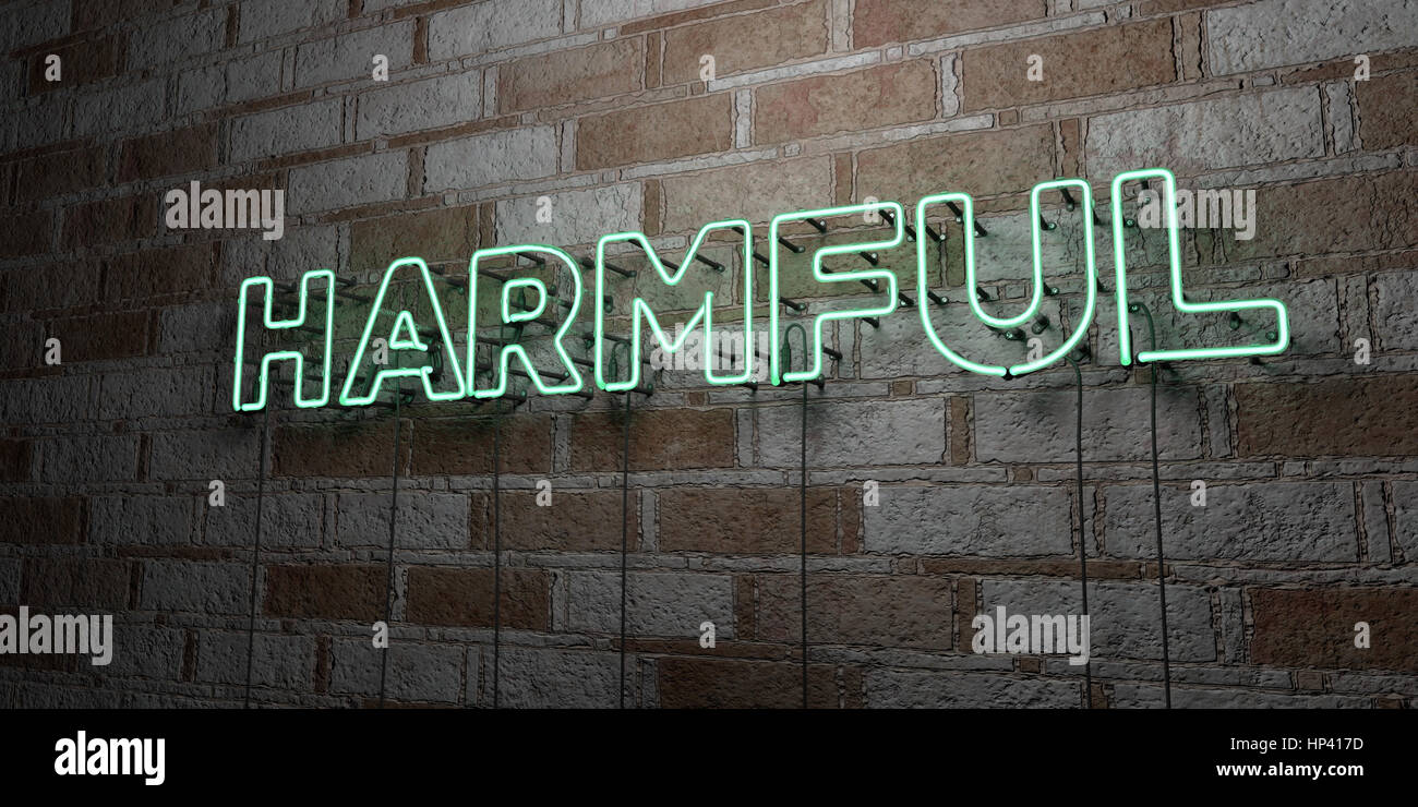 HARMFUL - Glowing Neon Sign on stonework wall - 3D rendered royalty free stock illustration.  Can be used for online - Stock Image