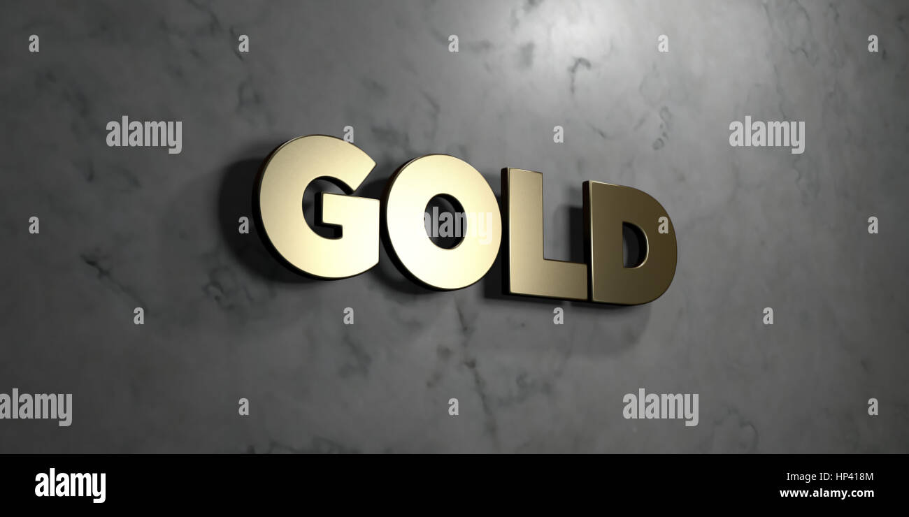 Gold - Gold sign mounted on glossy marble wall  - 3D rendered royalty free stock illustration. This image can be - Stock Image