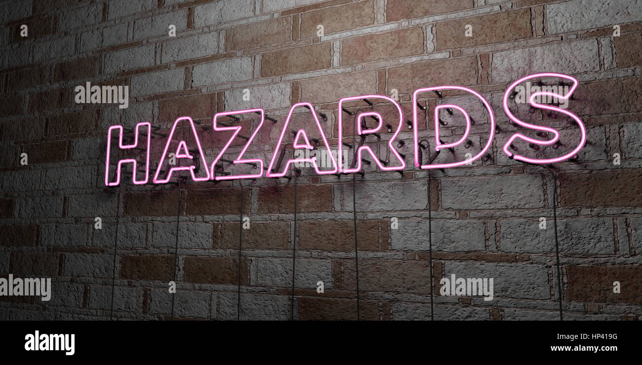 HAZARDS - Glowing Neon Sign on stonework wall - 3D rendered royalty free stock illustration.  Can be used for online - Stock Image