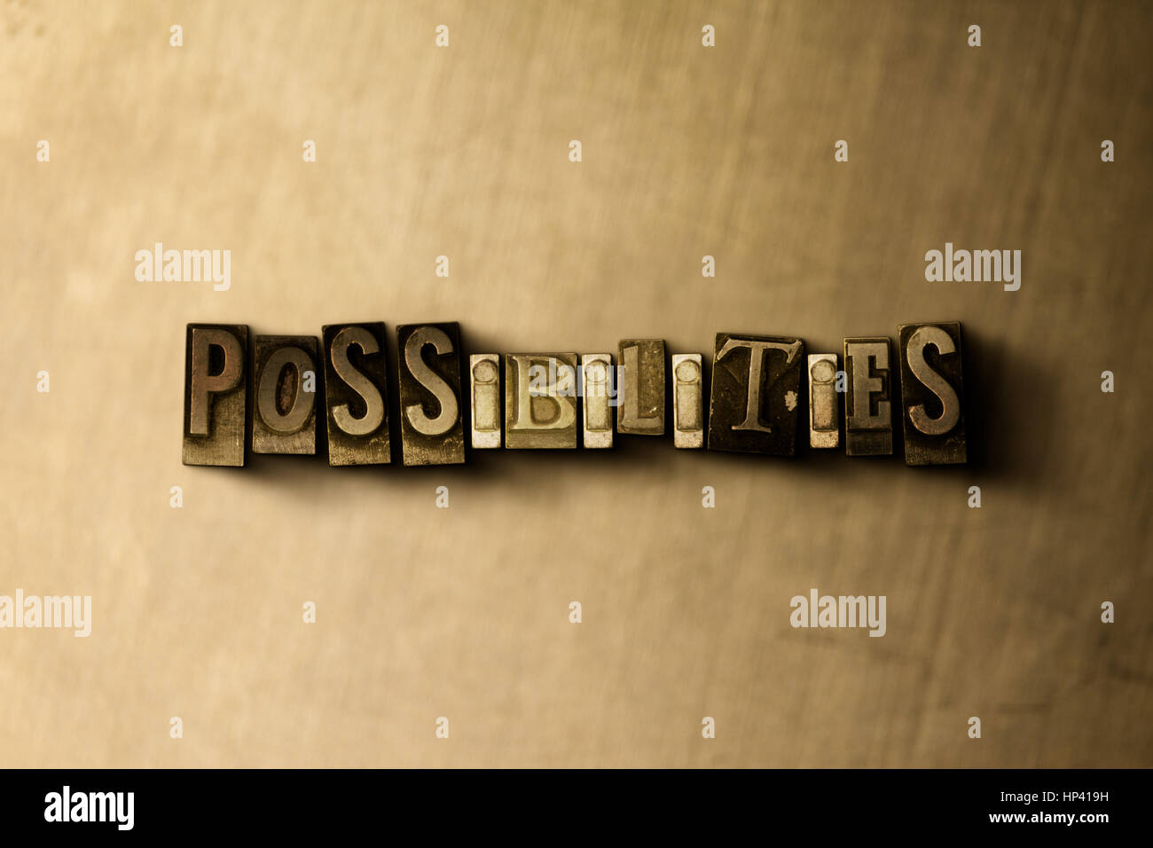 POSSIBILITIES - close-up of grungy vintage typeset word on metal backdrop. Royalty free stock illustration.  Can - Stock Image