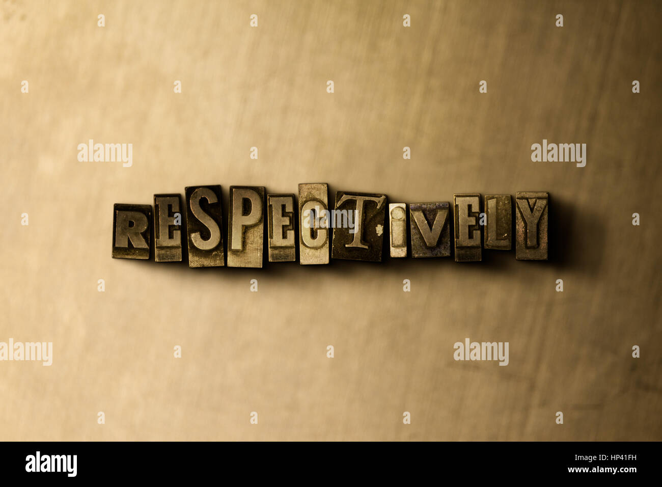 RESPECTIVELY - close-up of grungy vintage typeset word on metal backdrop. Royalty free stock illustration.  Can - Stock Image