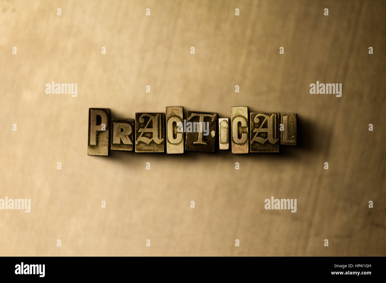 PRACTICAL - close-up of grungy vintage typeset word on metal backdrop. Royalty free stock illustration.  Can be - Stock Image