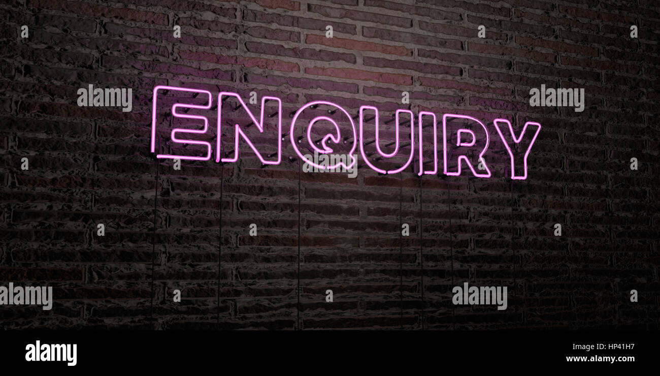 ENQUIRY -Realistic Neon Sign on Brick Wall background - 3D rendered royalty free stock image. Can be used for online - Stock Image