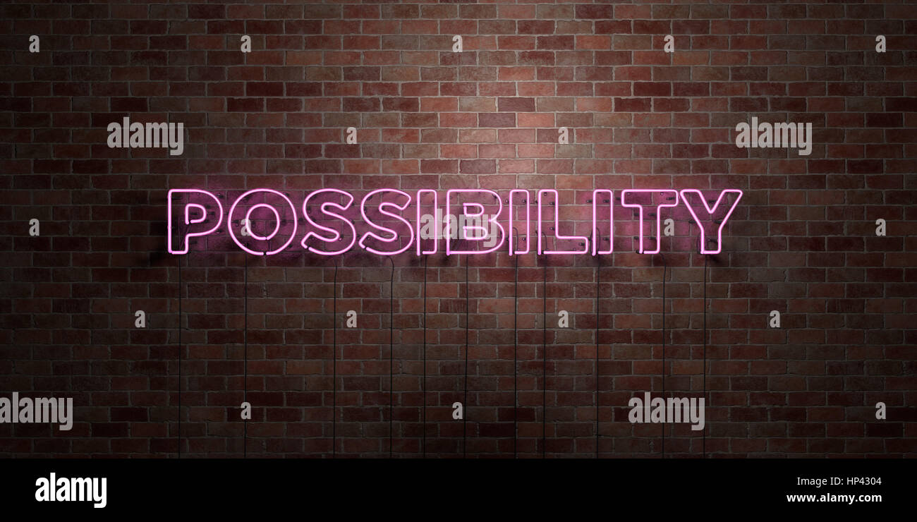 POSSIBILITY - fluorescent Neon tube Sign on brickwork - Front view - 3D rendered royalty free stock picture. Can - Stock Image