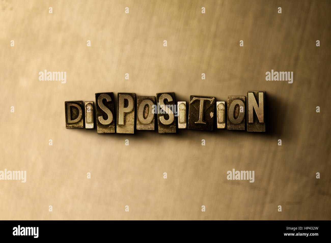 DISPOSITION - close-up of grungy vintage typeset word on metal backdrop. Royalty free stock illustration.  Can be - Stock Image