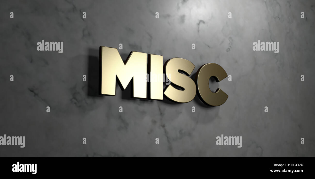 Misc - Gold sign mounted on glossy marble wall  - 3D rendered royalty free stock illustration. This image can be - Stock Image