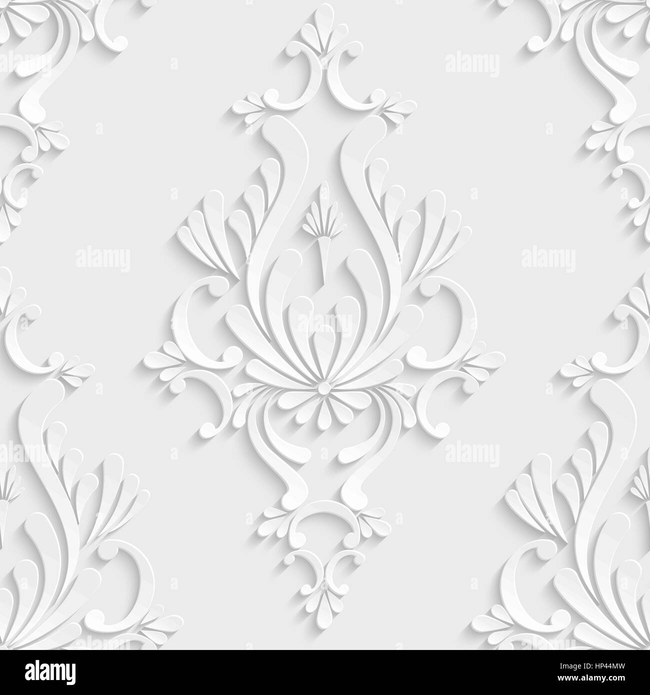 Vector Floral Damask 3d Seamless Pattern Background Decoration For