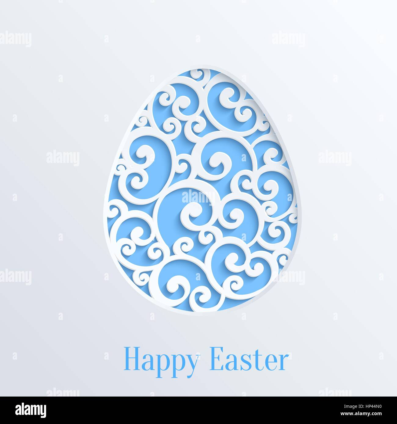 happy easter greeting card with paper cut easter egg vector design