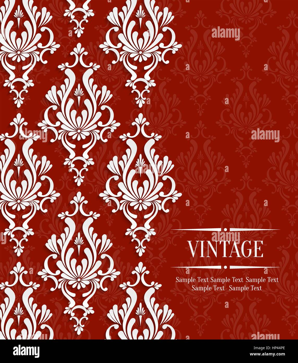Vector Red Vintage Background with Floral Damask Pattern for Wedding ...