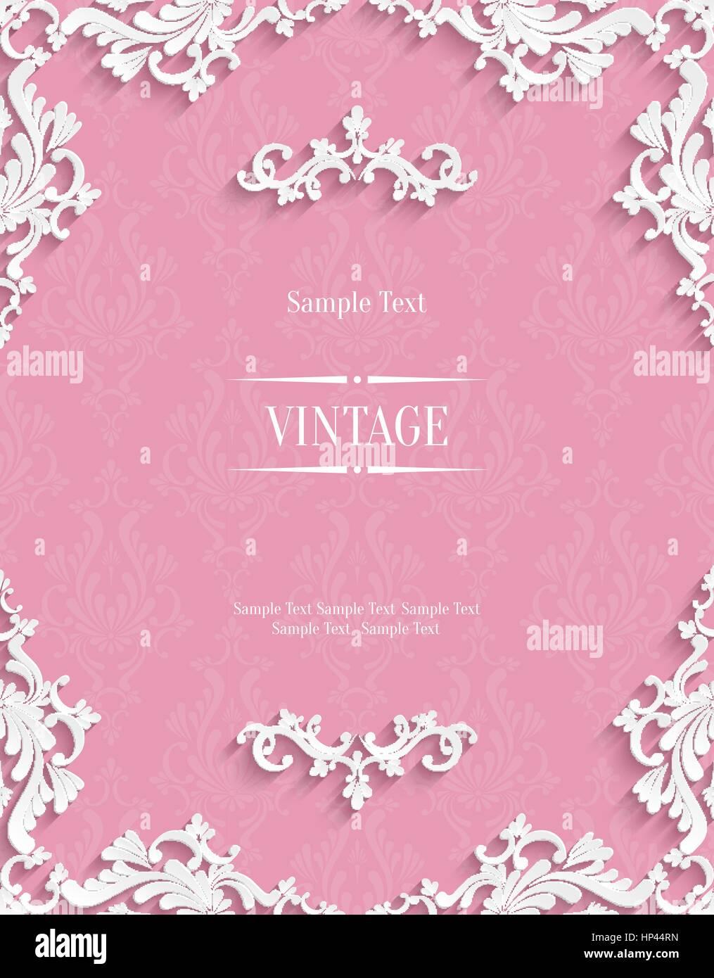 vector pink vintage background with 3d floral damask pattern