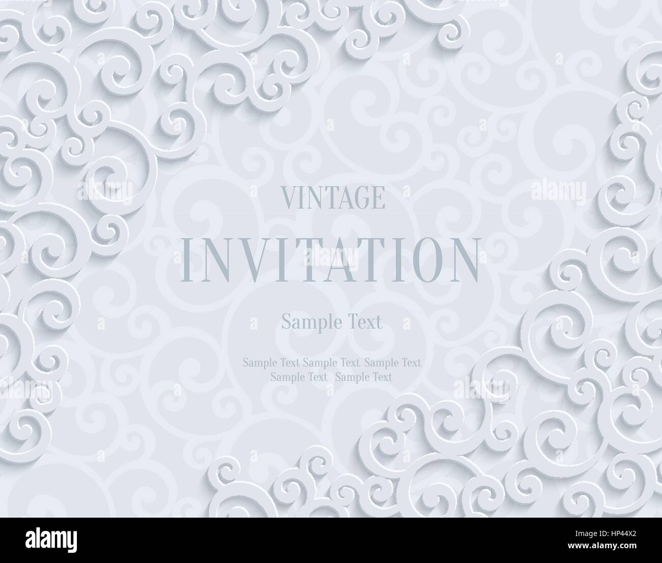 White 3d floral swirl horizontal background with curl pattern for white 3d floral swirl horizontal background with curl pattern for wedding or invitation card abstract vector vintage design template stopboris Image collections