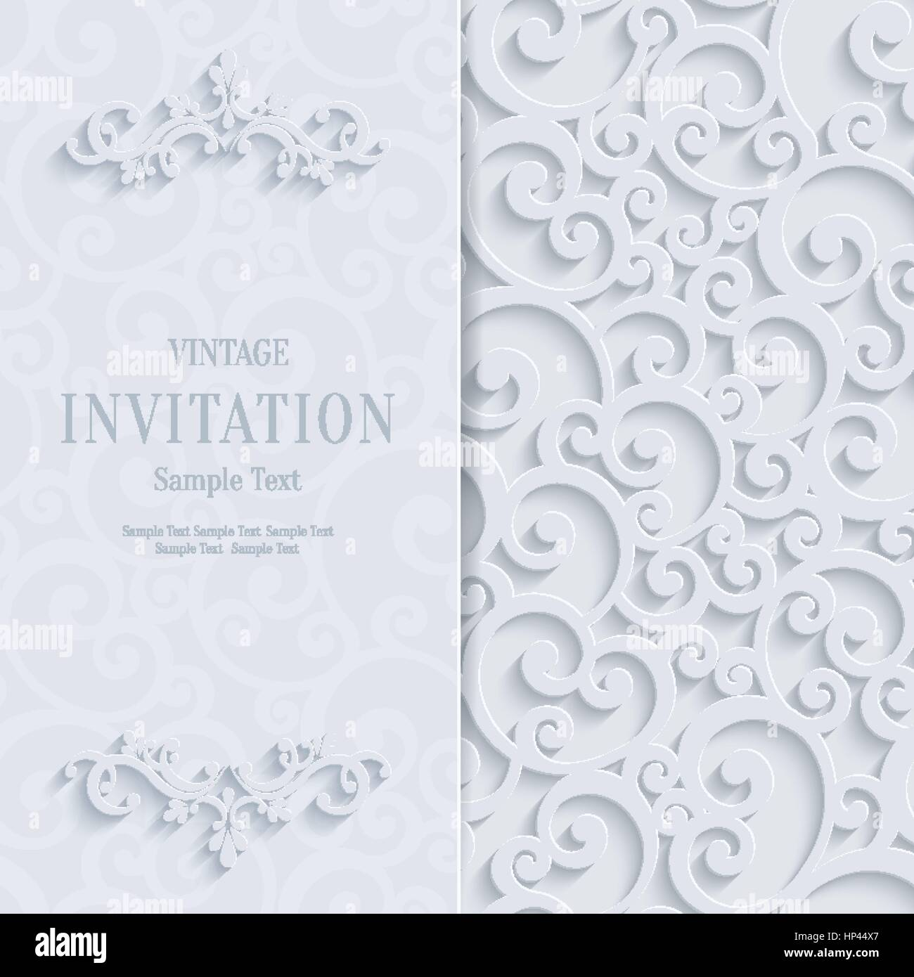 Floral curl white background with 3d swirl damask pattern for floral curl white background with 3d swirl damask pattern for wedding or invitation card vector white vintage design stopboris Images