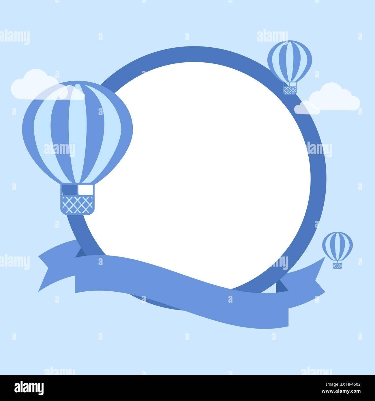 Cartoon Hot Air Balloon - Vector Background. Template for ...