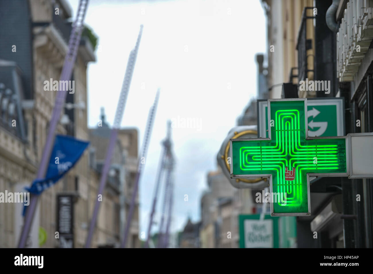 Esch-sur-Alzette, Luxembourg 08.06.2010. View of Alzette street with Pharmacy - Stock Image