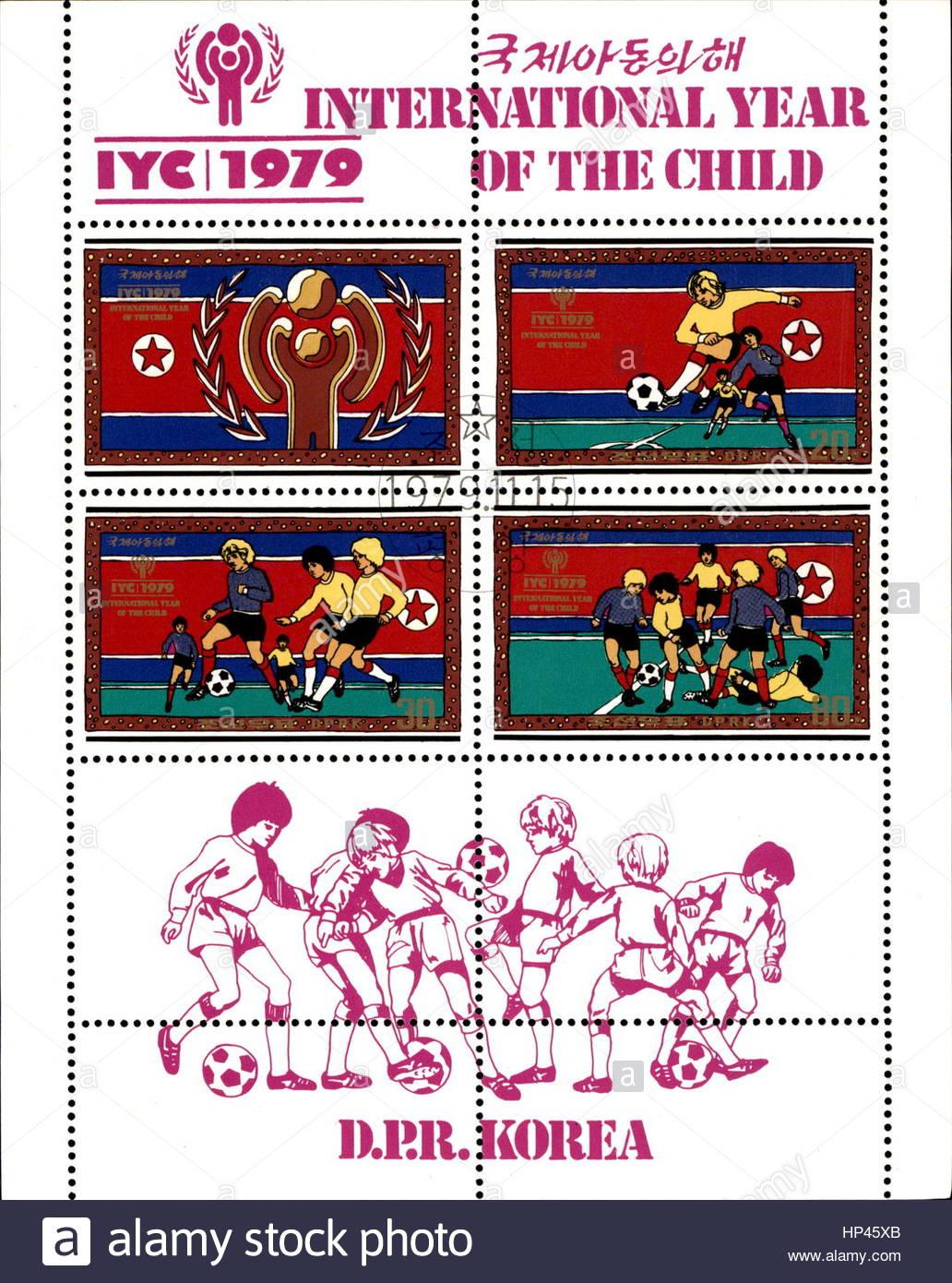 1979 international year of the child-Rare North Korean vintage postage stamp - Stock Image