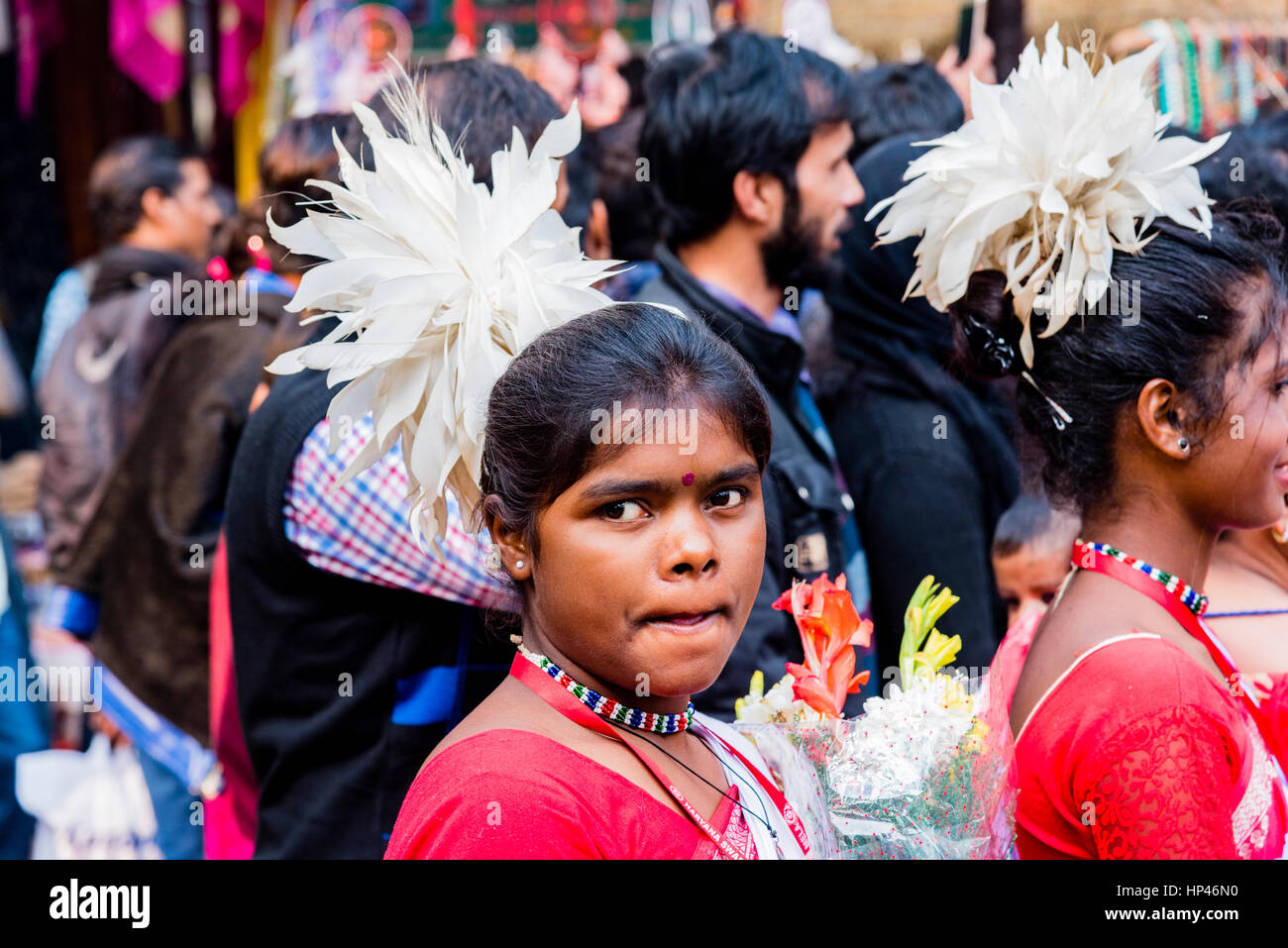 cc63eac069 Tribals from the state of Jharkhand performing tribal dance at an event. -  Stock Image