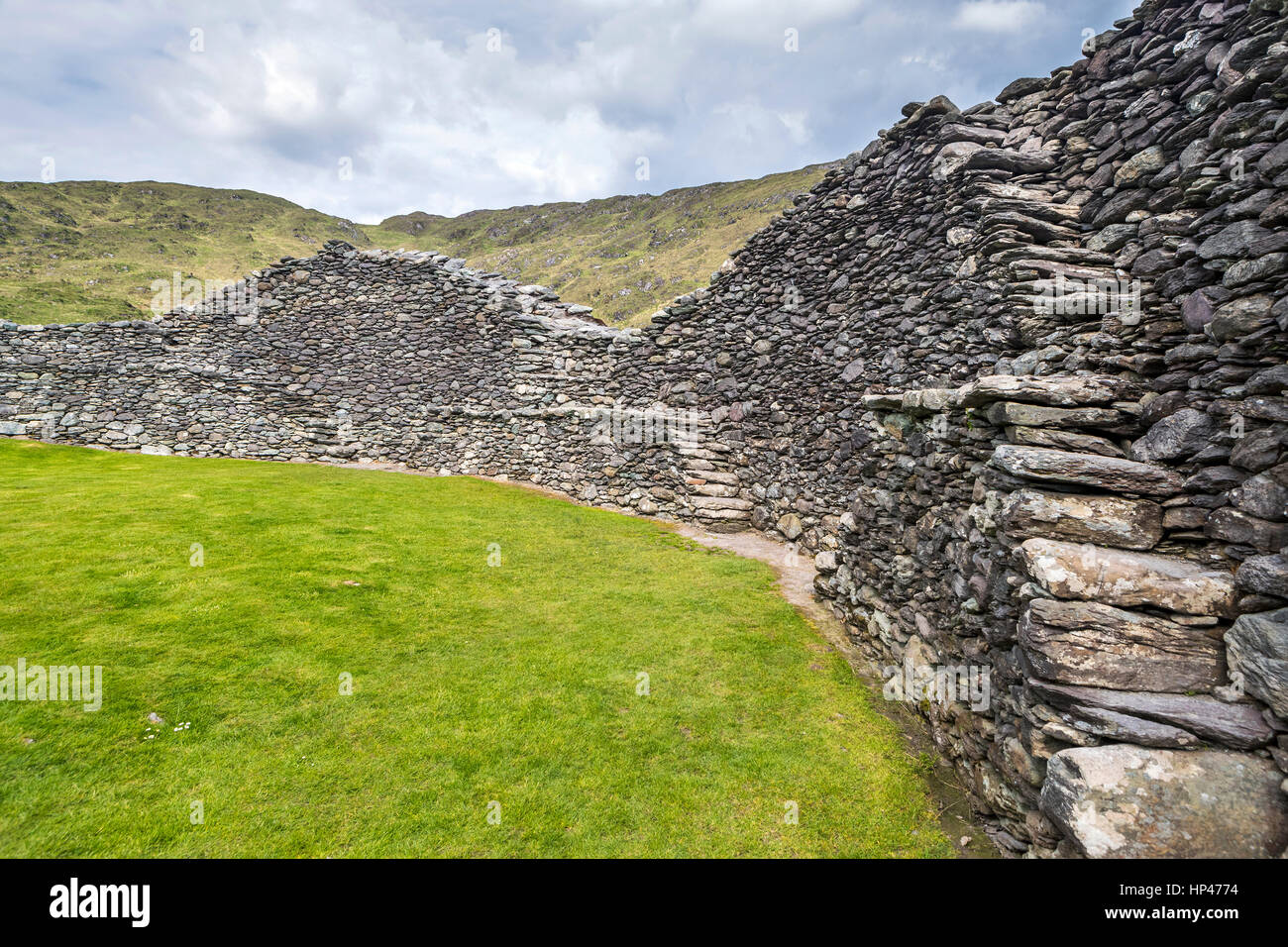 Staigue stone fort near Sneem, Iveragh peninsula, County Kerry, Ireland, Europe - Stock Image